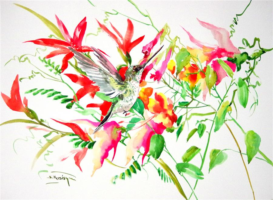 Original art for sale at UGallery.com | Hummingbird and Tropical Foliage by SUREN NERSISYAN | $400 |  | 18' h x 24' w | ..\art\watercolor-painting-Hummingbird-and-Tropical-Foliage