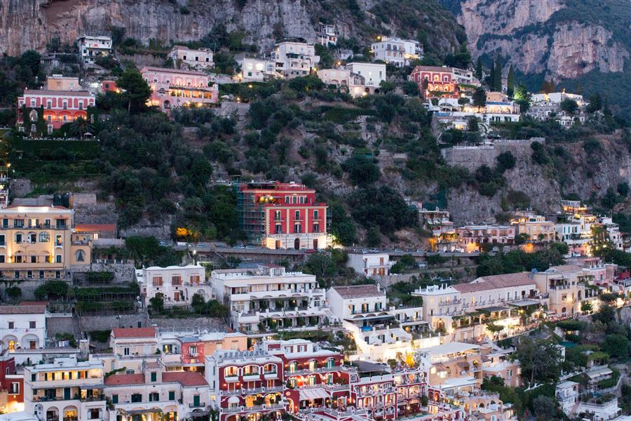 Original art for sale at UGallery.com | Positano at Dusk by Rebecca Plotnick | $25 | photography | 18' h x 12' w | ..\art\photography-Positano-at-Dusk