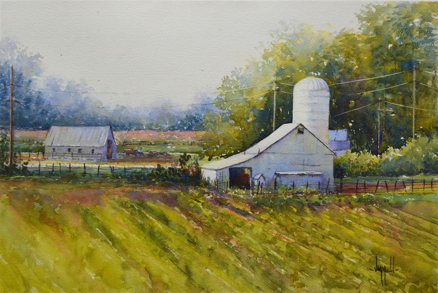 Original art for sale at UGallery.com | Down on the Farm by JUDY MUDD | $650 | Watercolor painting | 12' h x 16' w | ..\art\watercolor-painting-Down-on-the-Farm