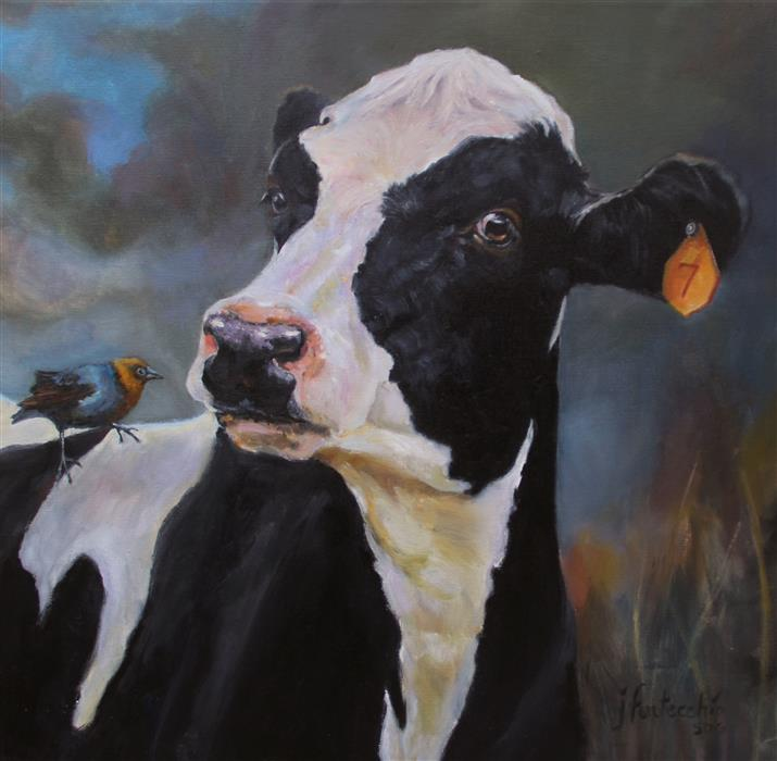 Original art for sale at UGallery.com | You Lookin' at Me? by JAN FONTECCHIO PERLEY | $1,250 |  | 22.75' h x 22.75' w | ..\art\oil-painting-You-Lookin-at-Me