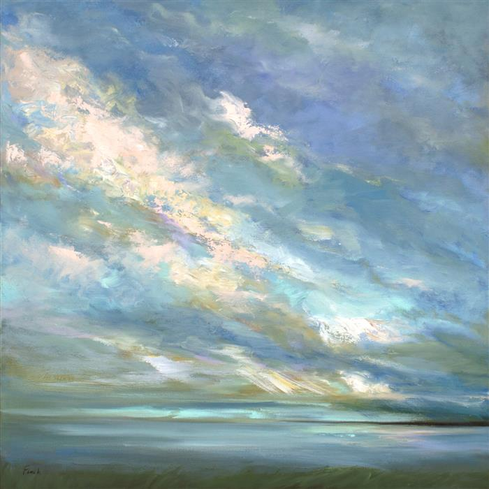 Original art for sale at UGallery.com | Coastal Sky III by SHEILA FINCH | $2,275 | Oil painting | 20' h x 20' w | ..\art\oil-painting-Coastal-Sky-III