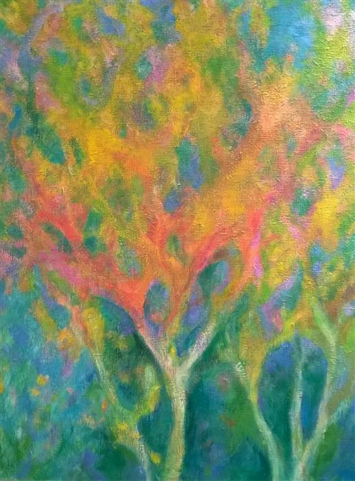 Original art for sale at UGallery.com | Trees by the Window by NAOKO TADOTSU | $1,600 |  | 40' h x 30' w | ..\art\oil-painting-Trees-by-the-Window