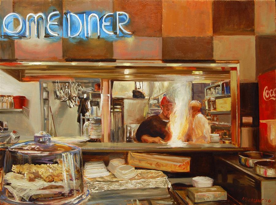 Original art for sale at UGallery.com | Down Home Diner by Onelio Marrero | $1,100 | oil painting | 18' h x 24' w | ..\art\oil-painting-Down-Home-Diner