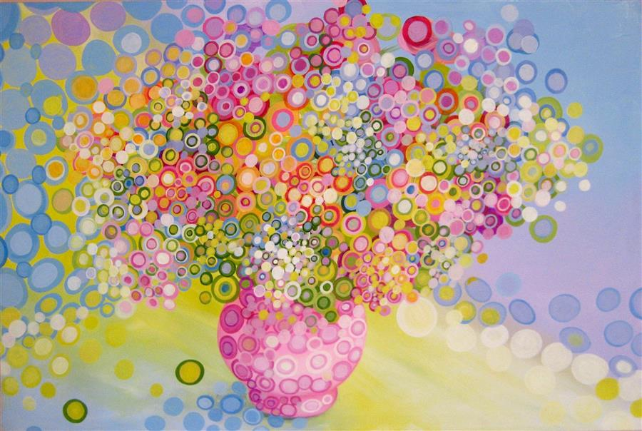 Original art for sale at UGallery.com | Flowers in Pink Vase by NATASHA TAYLES | $1,000 |  | 24' h x 36' w | ..\art\acrylic-painting-Flowers-in-Pink-Vase