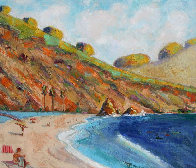 Original art for sale at UGallery.com | Rodeo Beach and Lagoon by JAMES HARTMAN | $5,825 |  | 48' h x 56' w | ..\art\oil-painting-Rodeo-Beach-and-Lagoon