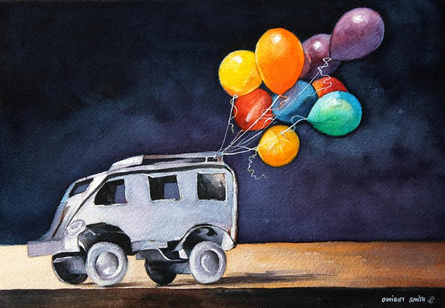 Original art for sale at UGallery.com | A Balloon Day by DWIGHT SMITH | $300 |  | 7' h x 10' w | ..\art\watercolor-painting-A-Balloon-Day