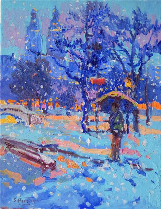 Original art for sale at UGallery.com | Snowing in Central Park by SUREN NERSISYAN | $475 | Oil painting | 14' h x 11' w | ..\art\oil-painting-Snowing-in-Central-Park