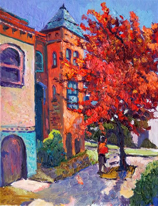 Original art for sale at UGallery.com | Street Corner with Fall Tree (Washington, DC) by SUREN NERSISYAN | $475 |  | 14' h x 11' w | ..\art\oil-painting-Street-Corner-with-Fall-Tree-Washington-DC
