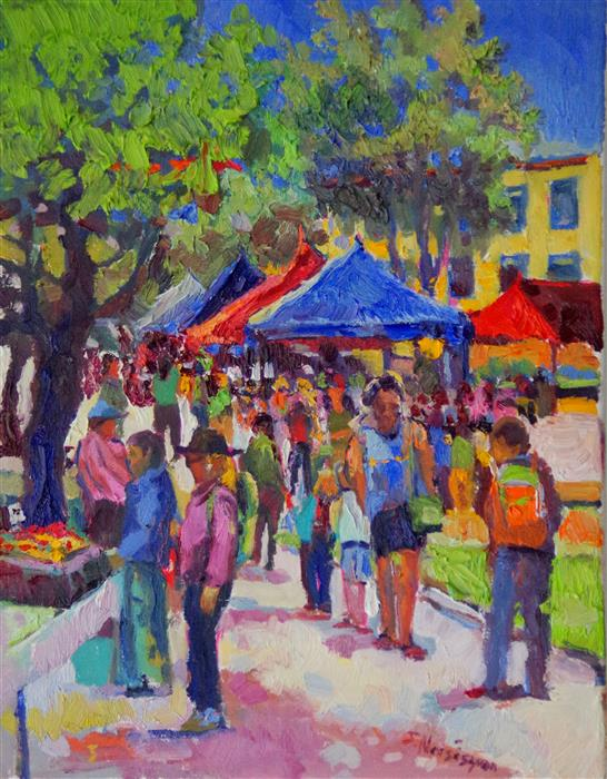 Original art for sale at UGallery.com | Farmers Market by Suren Nersisyan | $575 | oil painting | 14' h x 11' w | ..\art\oil-painting-Farmers-Market