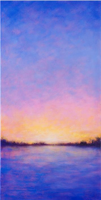 Original art for sale at UGallery.com | Sunset Reflections by VICTORIA VEEDELL | $700 |  | 24' h x 12' w | ..\art\oil-painting-Sunset-Reflections-50088