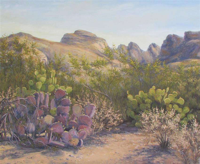 Original art for sale at UGallery.com | Summer Cactus Heat by RON KENYON | $1,400 |  | 30' h x 36' w | ..\art\oil-painting-Summer-Cactus-Heat