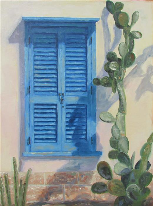 Original art for sale at UGallery.com | Blue Shutters by RON KENYON | $350 | Oil painting | 12' h x 9' w | ..\art\oil-painting-Blue-Shutters-48177