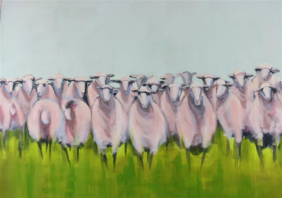 Original art for sale at UGallery.com | Class Reunion by LESLI DEVITO | $2,400 |  | 30' h x 40' w | ..\art\acrylic-painting-Class-Reunion