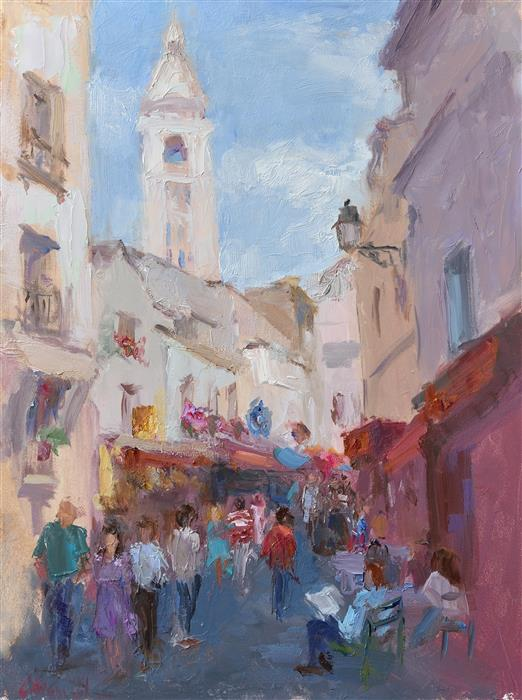 Original art for sale at UGallery.com | An Afternoon in Montmartre by OKSANA JOHNSON | $575 |  | 12' h x 9' w | ..\art\oil-painting-An-Afternoon-in-Montmartre