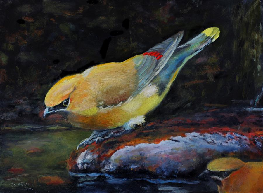 Original art for sale at UGallery.com | Waterfall and Waxwings by JAN FONTECCHIO PERLEY | $350 |  | 9' h x 12' w | ..\art\oil-painting-Waterfall-and-Waxwings