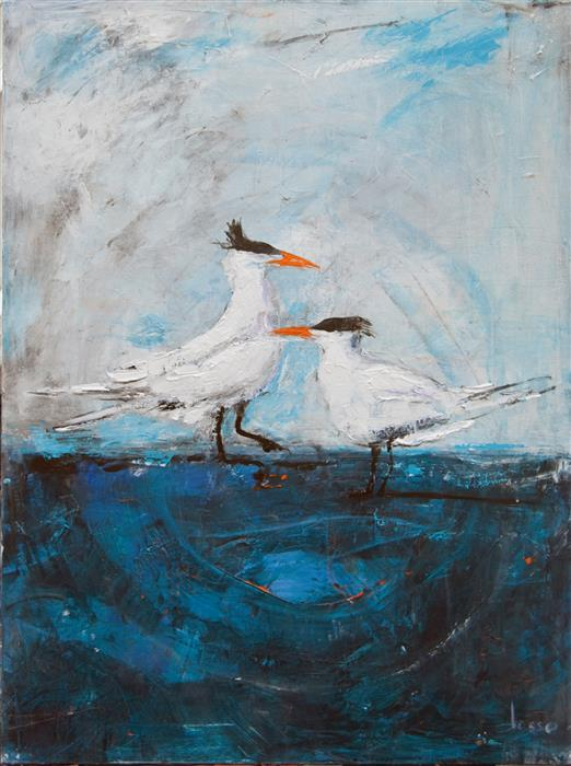 Original art for sale at UGallery.com | Snow Birds by ANNE DOSSO-POWELL | $2,425 | Mixed media artwork | 48' h x 36' w | ..\art\mixed-media-artwork-Beach-Day