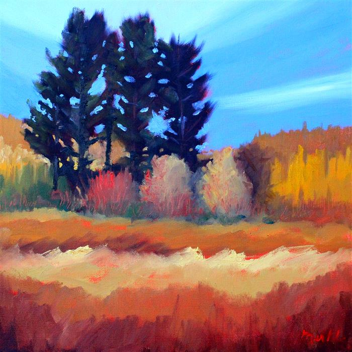 Original art for sale at UGallery.com | Fir in the Field by Nancy Merkle | $650 | oil painting | 18' h x 18' w | ..\art\oil-painting-Fir-in-the-Field
