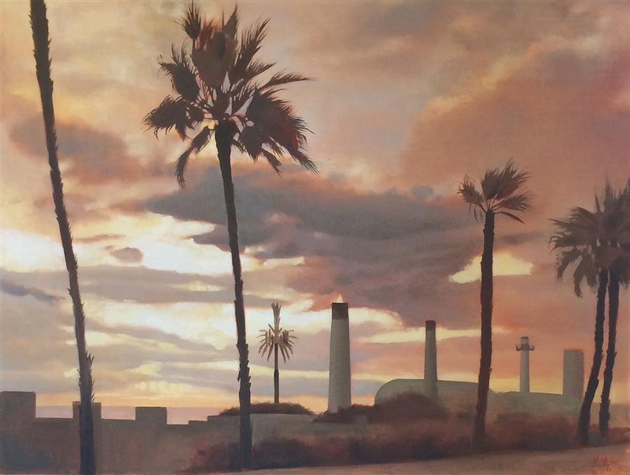 Original art for sale at UGallery.com | The Cell Phone Tower by JESSE ALDANA | $1,350 | Oil painting | 30' h x 40' w | ..\art\oil-painting-The-Cell-Phone-Tower