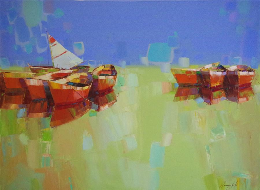Original art for sale at UGallery.com | Rowboats by Vahe Yeremyan | $1,675 | oil painting | 30' h x 40' w | ..\art\oil-painting-Rowboats