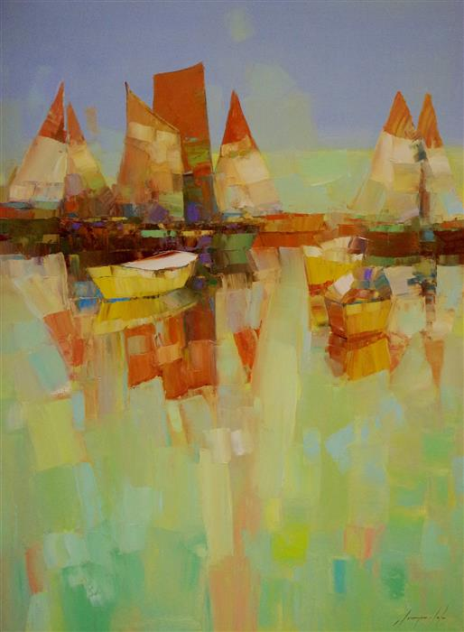 Original art for sale at UGallery.com | Sail Boats by VAHE YEREMYAN | $1,600 | Oil painting | 40' h x 30' w | ..\art\oil-painting-Sail-Boats