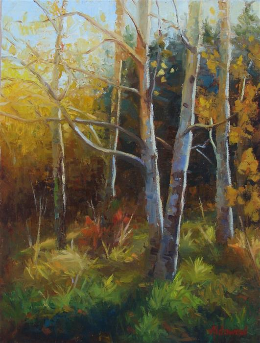 Original art for sale at UGallery.com | Aspens in Golden Light by SHERRI ALDAWOOD | $525 |  | 16' h x 12' w | ..\art\oil-painting-Aspens-in-Golden-Light