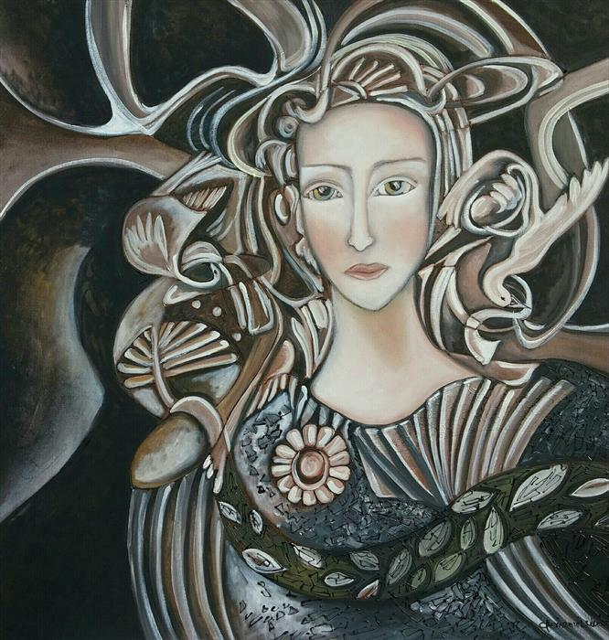 Original art for sale at UGallery.com | Beauty of the Night by Clemence Dubois | $1,650 | oil painting | 30' h x 30' w | ..\art\oil-painting-Beauty-of-the-Night
