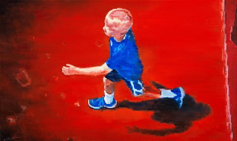 Original art for sale at UGallery.com | Aerial View of Boy Running at Amusement Park by WARREN KEATING | $5,550 | Oil painting | 36' h x 60' w | ..\art\oil-painting-Aerial-View-of-Boy-Running-at-Amusement-Park