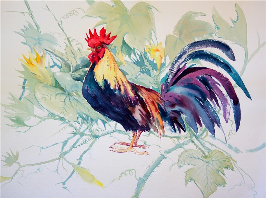 Original art for sale at UGallery.com | Rooster and Pumpkin by SUREN NERSISYAN | $475 |  | 18' h x 24' w | ..\art\watercolor-painting-Rooster-and-Pumpkin
