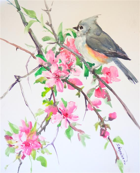 Original art for sale at UGallery.com | Titmouse and Sakura (Cherry Blossom) by SUREN NERSISYAN | $325 | Watercolor painting | 14' h x 11' w | ..\art\watercolor-painting-Titmouse-and-Sakura-Cherry-Blossom