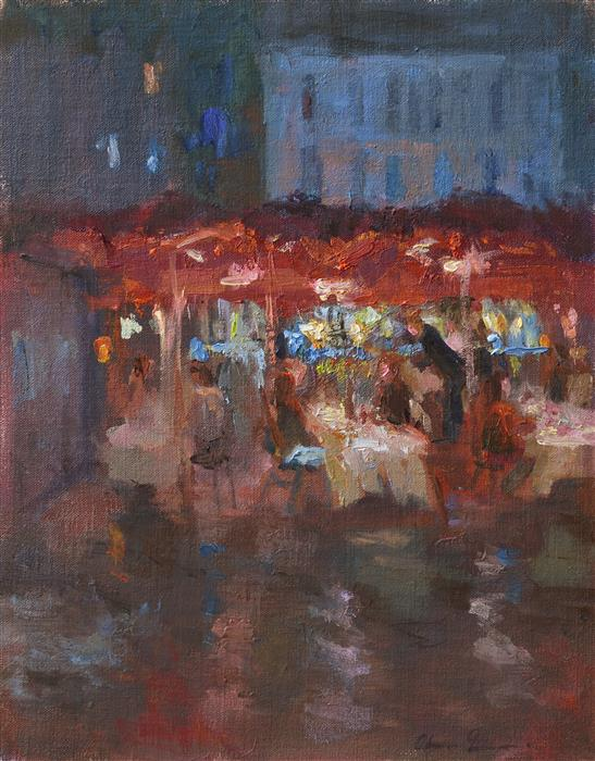 Original art for sale at UGallery.com | Dinner after the Rain by OKSANA JOHNSON | $625 | Oil painting | 14' h x 11' w | ..\art\oil-painting-Dinner-after-the-Rain
