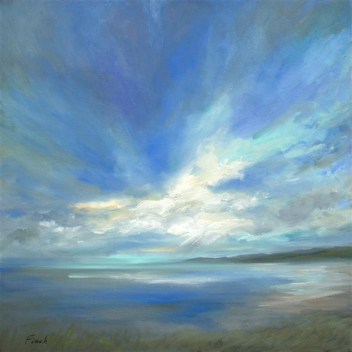 Original art for sale at UGallery.com | Coastal Sky IV by SHEILA FINCH | $2,350 | Oil painting | 20' h x 20' w | ..\art\oil-painting-Coastal-Sky-IV