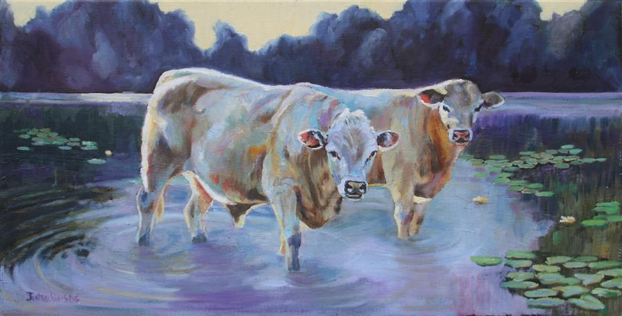 Original art for sale at UGallery.com | Monet Cows by JAN FONTECCHIO PERLEY | $475 |  | 12' h x 24' w | ..\art\oil-painting-Monet-Cows