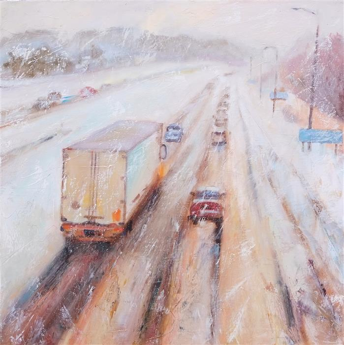 Original art for sale at UGallery.com | Winter Highway by DINA VOLKOVA | $700 |  | 18' h x 18' w | ..\art\oil-painting-Winter-Highway