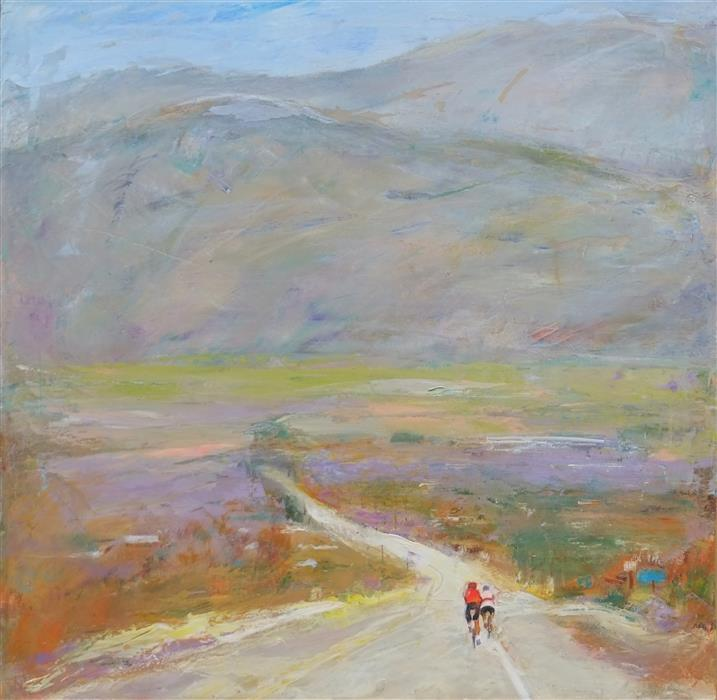 Original art for sale at UGallery.com | Cyclists on the Road by Dina Volkova | $675 | oil painting | 18' h x 18' w | ..\art\oil-painting-Cyclists-on-the-Road