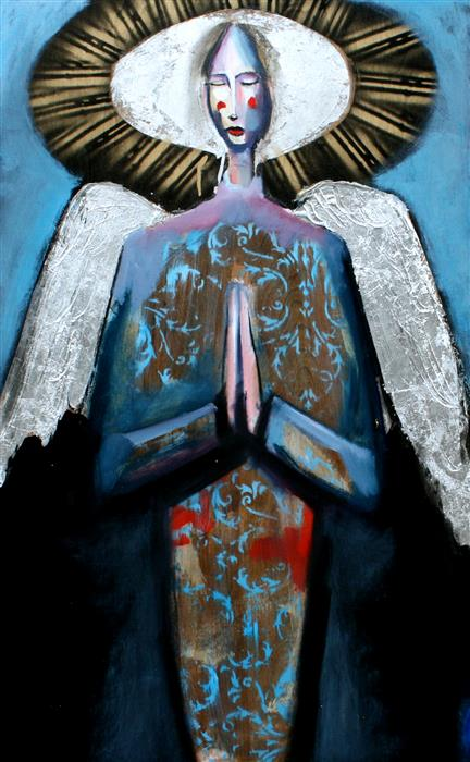 Original art for sale at UGallery.com | An Angel in Blue with Rays of Gold by SCOTT DYKEMA | $1,550 | Mixed media artwork | 30' h x 18' w | ..\art\mixed-media-artwork-An-Angel-in-Blue-with-Rays-of-Gold