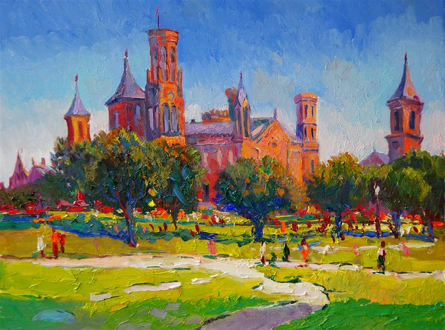 Original art for sale at UGallery.com | Smithsonian Institution Building, Washington DC, Morning by SUREN NERSISYAN | $1,025 |  | 18' h x 24' w | ..\art\oil-painting-Smithsonian-Institution-Building-Washington-DC-Morning