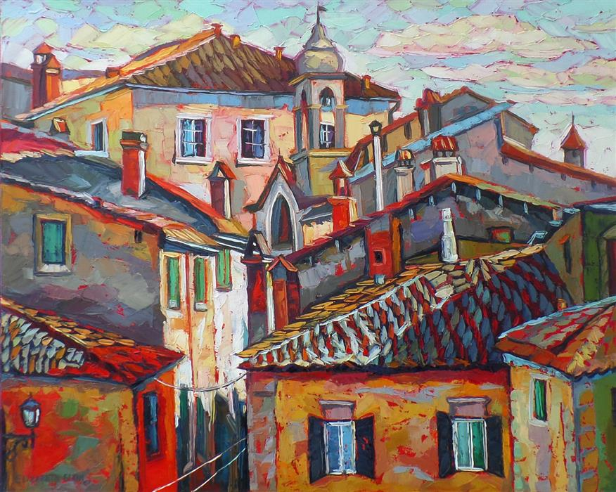 Original art for sale at UGallery.com | Tuscany Roofs by ELIZABETH ELKIN | $2,175 |  | 24' h x 30' w | ..\art\oil-painting-Tuscany-Roofs