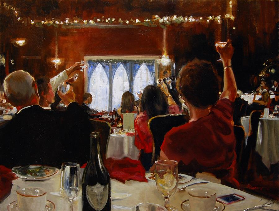 Original art for sale at UGallery.com | Wedding Toast by ONELIO MARRERO | $1,225 | Oil painting | 18' h x 24' w | ..\art\oil-painting-Wedding-Toast