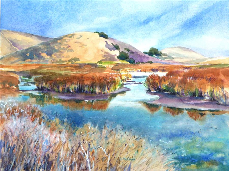 Original art for sale at UGallery.com | Coyote Hills Wetlands by CATHERINE MCCARGAR | $650 |  | 12' h x 16' w | ..\art\watercolor-painting-Coyote-Hills-Wetlands
