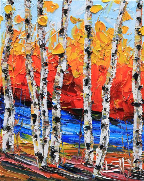 Original art for sale at UGallery.com | Simply Birch by LISA ELLEY | $300 |  | 10' h x 8' w | ..\art\oil-painting-Simply-Birch