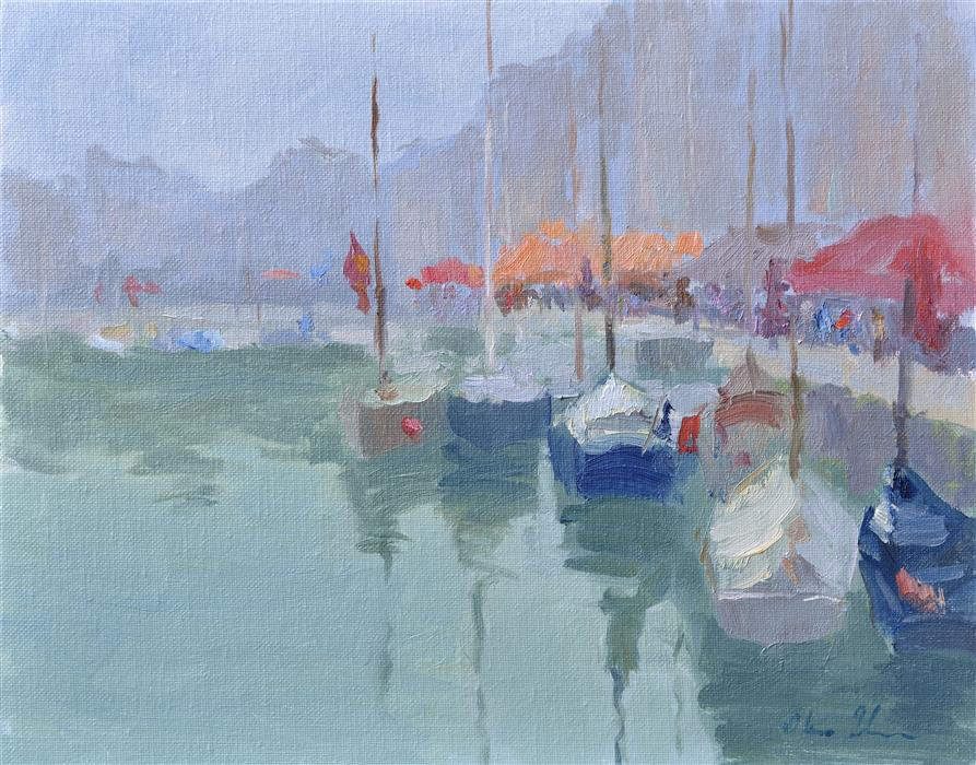 Original art for sale at UGallery.com | Morning in a Harbor by OKSANA JOHNSON | $625 |  | 11' h x 14' w | ..\art\oil-painting-Morning-in-a-Harbor