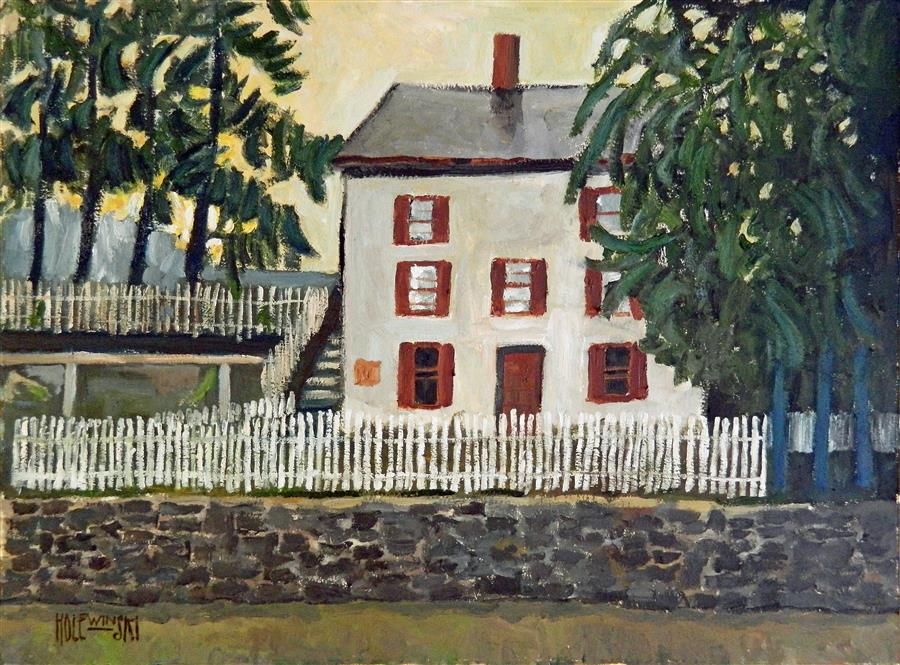 Original art for sale at UGallery.com | Locktender's House in New Hope by ROBERT  HOLEWINSKI | $1,325 |  | 17' h x 23' w | ..\art\oil-painting-Locktender-s-House-in-New-Hope