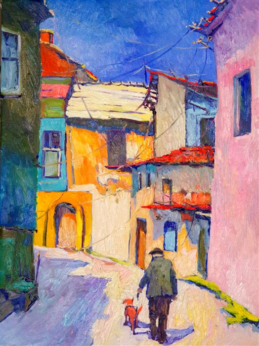 Original art for sale at UGallery.com | Forgotten Street by SUREN NERSISYAN | $2,200 |  | 32' h x 24' w | ..\art\oil-painting-Forgotten-Street