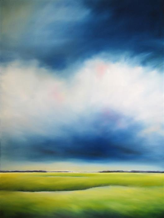 Original art for sale at UGallery.com | Blue Marsh Clouds by NANCY HUGHES MILLER | $1,950 |  | 40' h x 30' w | ..\art\oil-painting-Blue-Marsh-Clouds