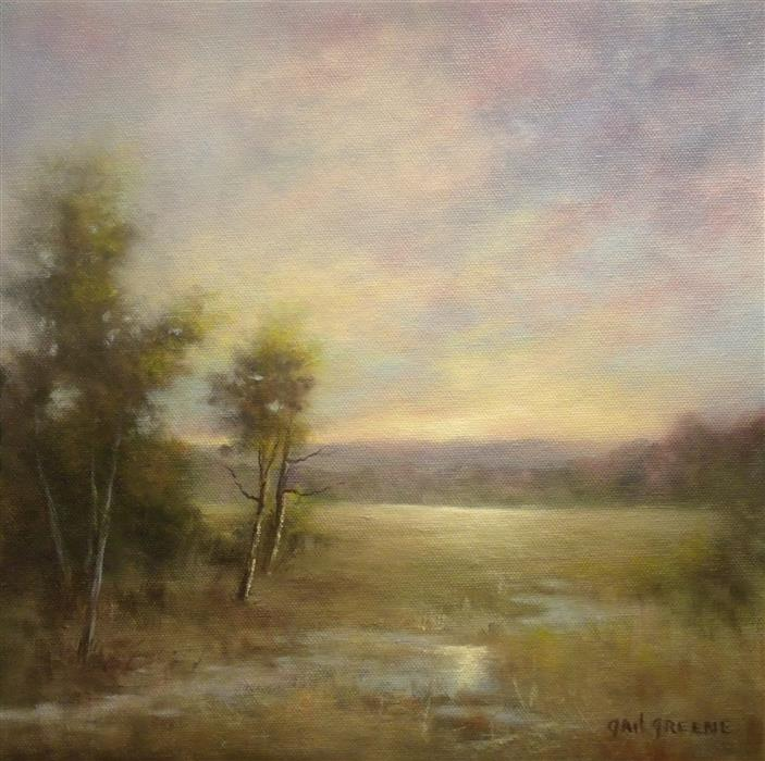 Original art for sale at UGallery.com | Clouds above the Wetlands by Gail Greene | $350 | oil painting | 12' h x 12' w | ..\art\oil-painting-Clouds-above-the-Wetlands