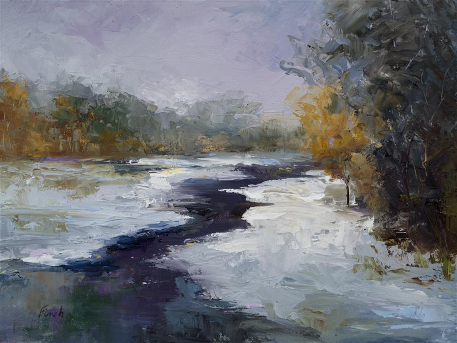 Original art for sale at UGallery.com | Fresh Snow by SHEILA FINCH | $475 |  | 6' h x 8' w | ..\art\oil-painting-Fresh-Snow