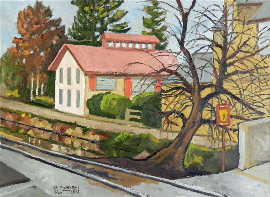 Original art for sale at UGallery.com | Lambertville Canal and Tracks by ROBERT  HOLEWINSKI | $1,075 |  | 17' h x 23' w | ..\art\oil-painting-Lambertville-Canal-and-Tracks