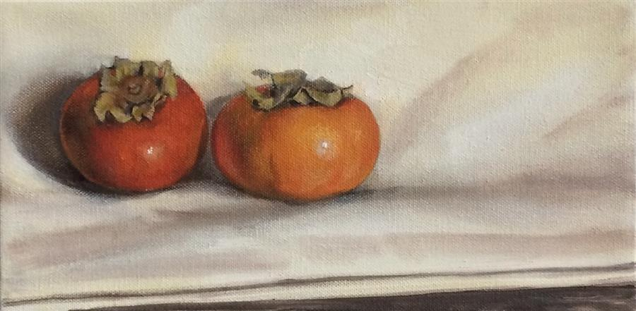 Original art for sale at UGallery.com | Persimmons by JESSE ALDANA | $325 | Oil painting | 6' h x 12' w | ..\art\oil-painting-Persimmons