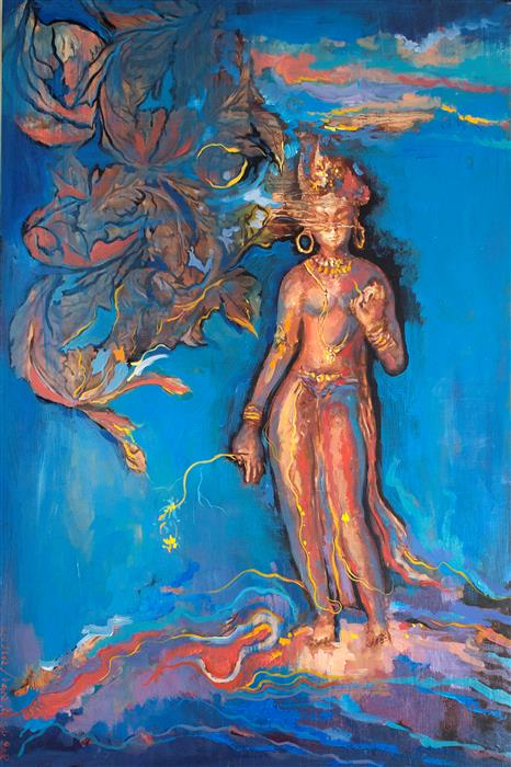 Original art for sale at UGallery.com | Standing Tara by YUVAK TULADHAR | $3,825 | Acrylic painting | 48' h x 32' w | ..\art\acrylic-painting-Standing-Tara