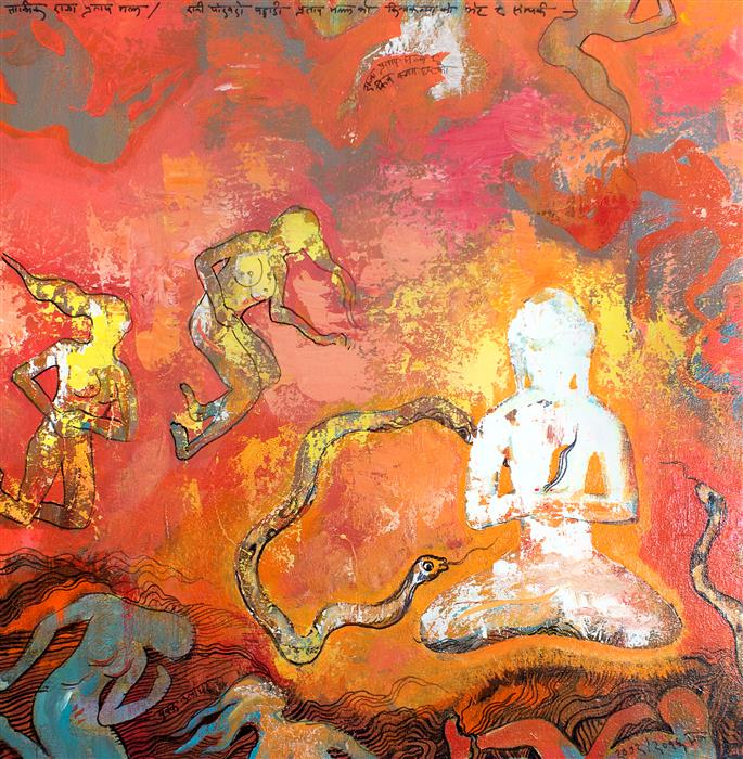 Original art for sale at UGallery.com | Pratap Malla and Kichkanyas 01 by YUVAK TULADHAR | $1,150 | Acrylic painting | 24' h x 24' w | ..\art\acrylic-painting-Pratap-Malla-and-Kichkanyas-01